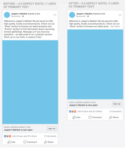 image showing less ad space in facebook