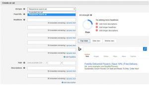 Microsoft responsive ads interface